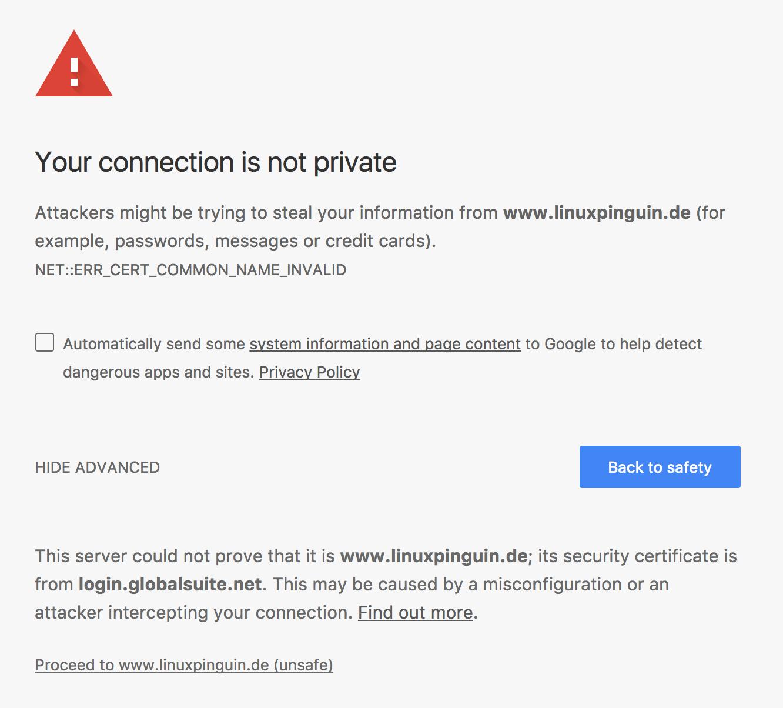 Your connection is not private - Linuxpinguin de